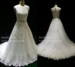 A Line Wedding Dress See Through Corset Bridal Gown with Over Lace