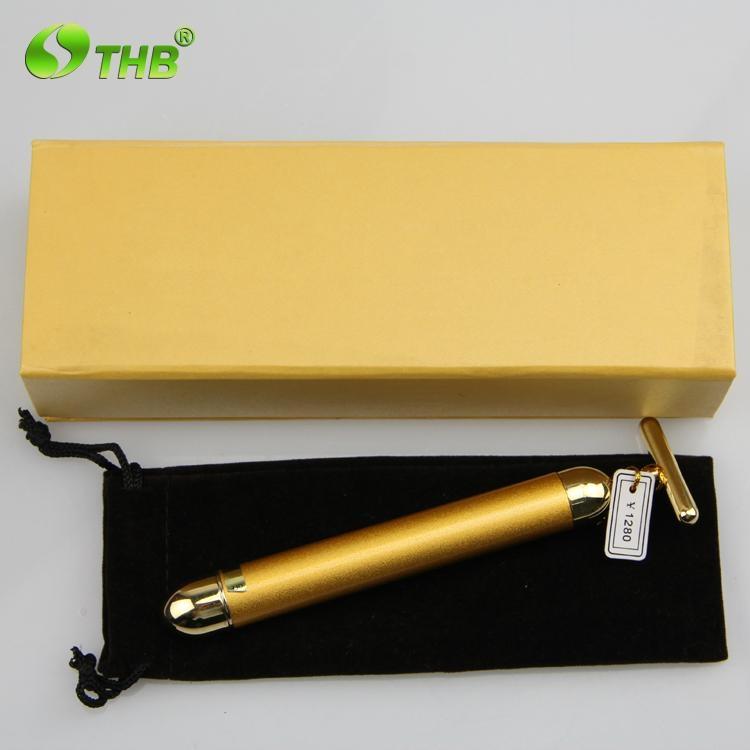 T shape golden vibration pulse skin care magic beauty wand for Beauty wand