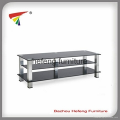 3-tier tempered glass tv table
