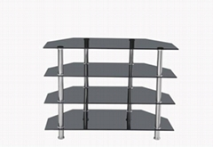 4-tier tempered glass tv stand