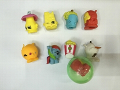 "soft pencil cap, cartoon figures pencil top, 1"" capsules toy"