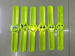 Promotional smile faces reflective slap band/snap wrap