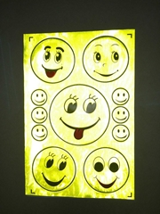reflective sticker smile faces