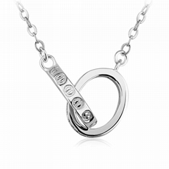 Pt plated silver jewelry, charming double ring pendant necklace, silver necklace