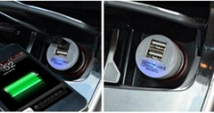 Double mini USB car charger (with blue LED lamp)