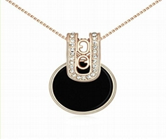 N13477 classics jewelry black pendant crystal necklace