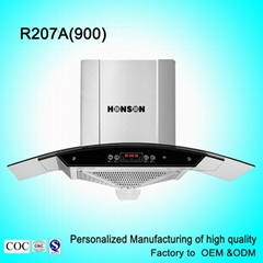 R207A 900mm arc glass range hood