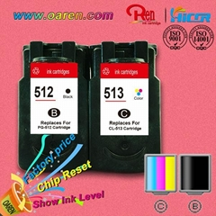 compatible ink cartridge for canon PG512 CL513 inkjet printer  show ink level