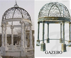 Victorian Cast Iron and marble Gazebo