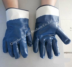 Industrial nitrile dipped working glove  safety cuff