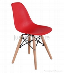 modern design plastic covered dining chair wooden legs
