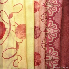 woven fabric Print voile textile fabric with curtain