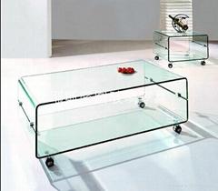 Double mobile glass tea table E-338#