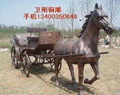 銅雕塑馬拉車