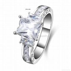 Luxury 925 Si  er Material Engagement Ring for Women Wedding Jewelry Accessory