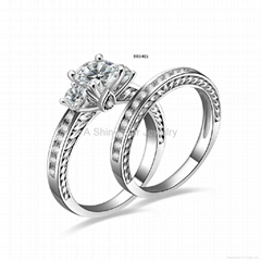 Fashion 925 Si  er Wedding Bridal Ring for Women Jewelry Accessory