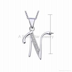 925 Silver CZ Setting 26 English Letter N to Z Pendant Charm Jewelry