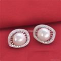925 Sterling Si  er Pearl set Earring Studs for Lady Accossion Jewelry