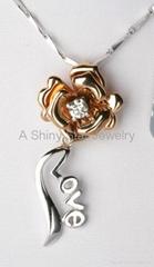 Classic 18K Gold Lady Pendant Charm pattern,  Fashion 18K Gold Necklace