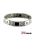 316 Stainless Steel Magnetic Therapy Bracelet with CZ Stones 1