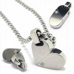 316L Stainless Steel Pendant, Titanium Pendant, Heart Shape