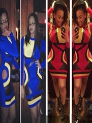 Blue And Red Long Sleeves Fashion Party Career Bandage Bodycon Dress