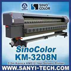 3.2m Solvent Printer With Konica KM512/14pl Heads 1440dpi Sinocolor KM3208N