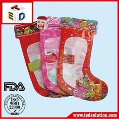 Popular sale plastic socks shaped pouch for Christmas