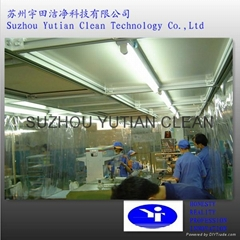 Movable modular softwall clean booth