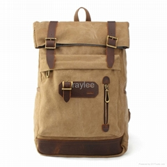 canvas  and geniune leather backpacks