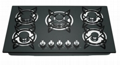 5 burners tempered glass gas stove home appliance