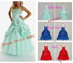 2014 New Stock Lake Blue Royal BlueRed Flower Girl Dresses