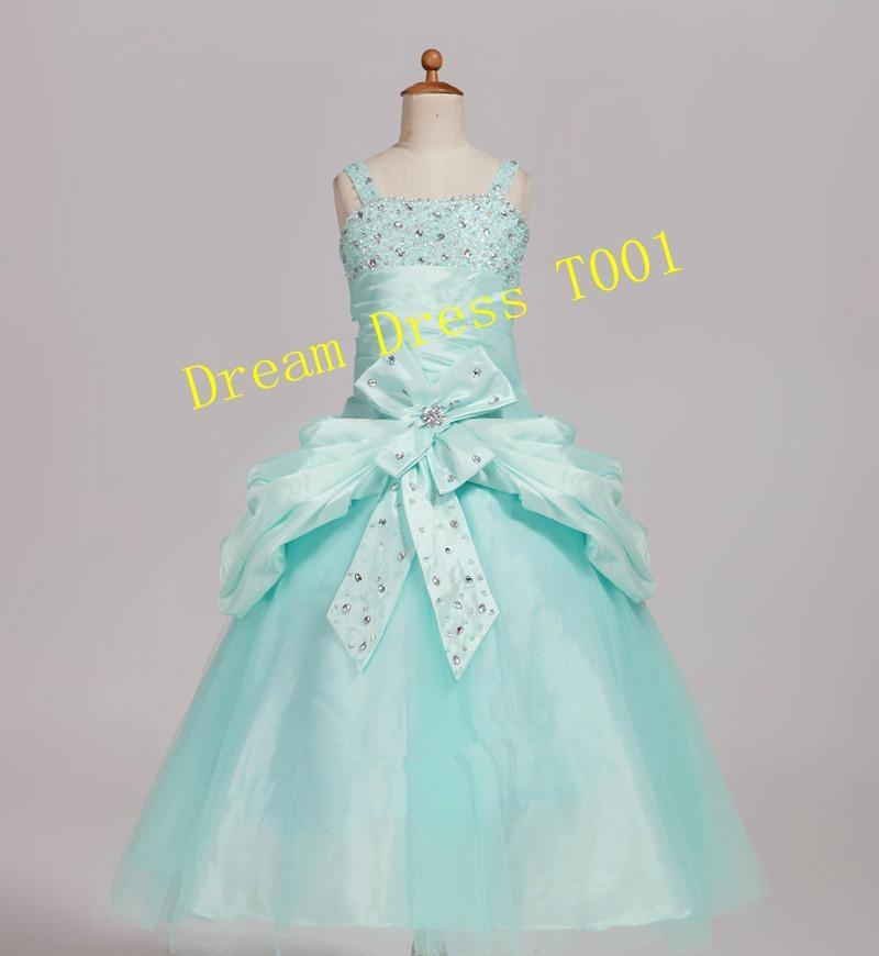 2014 New Stock Lake Blue Royal BlueRed Flower Girl Dresses  2