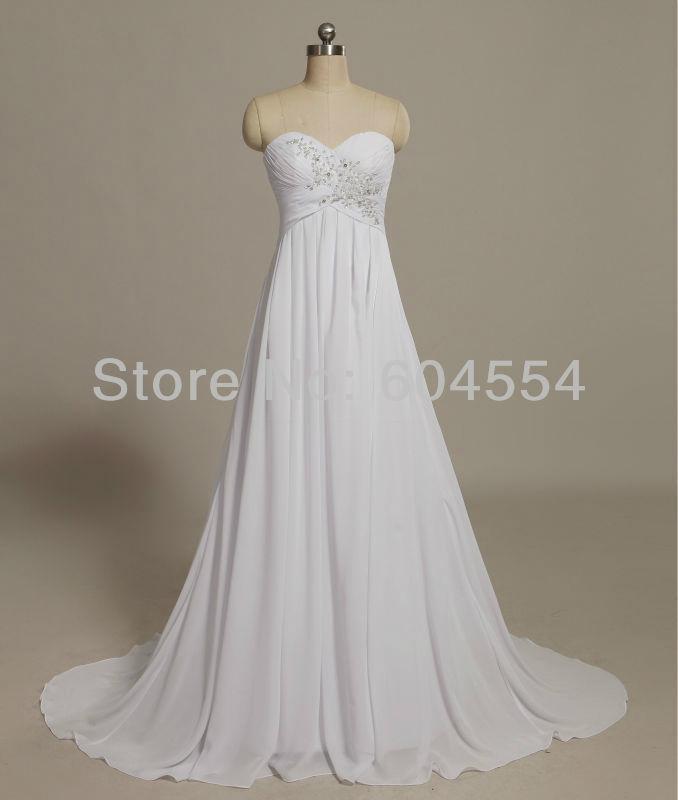 2014 Hot New Stock US Size 2~20 White Chiffon  Applique Beading Wedding Dresses  4