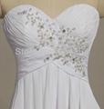2014 Hot New Stock US Size 2~20 White Chiffon  Applique Beading Wedding Dresses  3