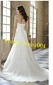 2014 Hot New Stock US Size 2~20 White Chiffon  Applique Beading Wedding Dresses  2