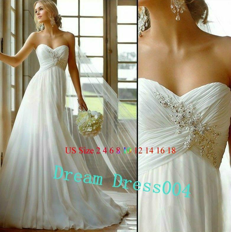 2014 Hot New Stock US Size 2~20 White Chiffon  Applique Beading Wedding Dresses  1