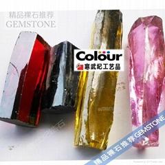 AB彩色鋯石原石材料批發