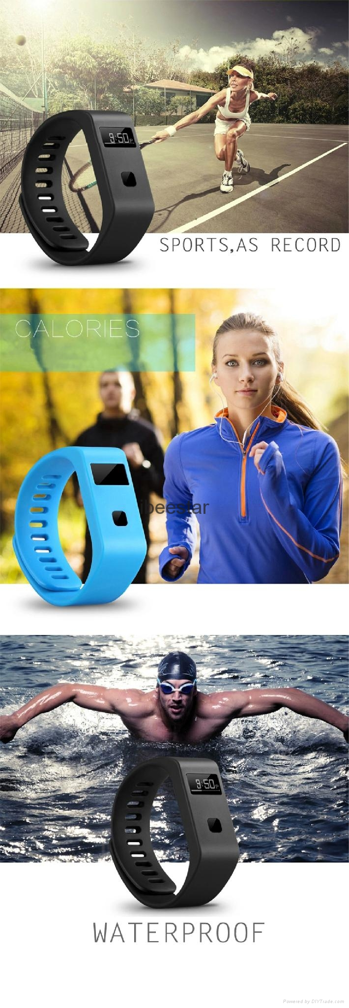 waterproof wireless bluetooth wristband with mobile APP  13