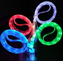 LED Light micro usb data cable for samsung mobile phone Galaxy S4 i9500 N71
