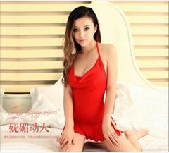 耶妮婭性感弔帶大紅睡裙 X3276