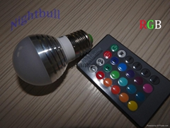110V E27 RGB 3W 16 Color Change Lamp LED Light Bulb+24 Key IR Remote Controller