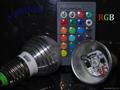 110V E27 RGB 3W 16 Color Change Lamp LED Light Bulb+24 Key IR Remote Controller 3