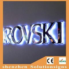Fashion High illuminated stainless steel Led Backlit Sign