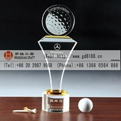 customize China crystal golf trophies