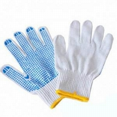 white cotton glove,work glove,safety glove,pvc dots glove/guantes de algodon, gu