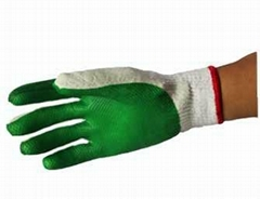 2014 hot sale Green latex coated safety working gloves