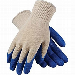 Blue latex coated safety working gloves