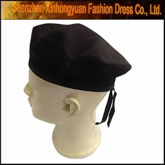 Black Military 100% Wool Felt Beret with Polyester Binding