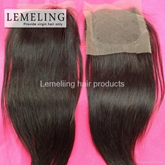 """Top Qulity 4""""by4"""" Lace Top Closure Brazilian Virgin Human Hair Free/Middle Part"""